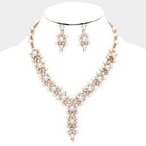 Crystal Round Pearl Bubble Y Evening Necklace A
